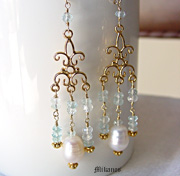 Schaef Designs Aquamarine, White Freshwater Pearl, & Gold Vermeil Chandelier Dangle Earrings | New Mexico