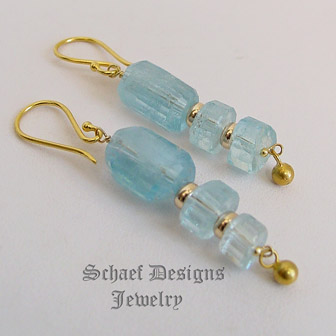 Schaef Designs Aquamarine & 18kt Gold French Wire Earrings | New Mexico