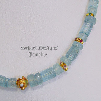 Schaef Designs Aquamarine, opal, tourmaline, ruby, emerald & 18kt solid gold necklace | New Mexico