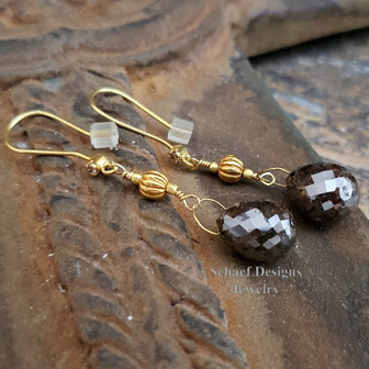 Schaef Designs Large Chocolate Brown Diamond Briolette & 22kt Solid Gold Dangle Earrings| New Mexico