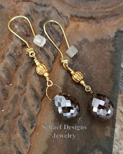 Schaef Designs 17.5cts chocolate brown diamond briolette and 22kt solid gold dangle earrings | New Mexico