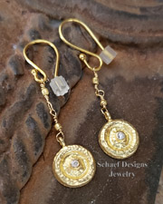 Schaef Designs diamond & 18kt gold hammered disk dangle earrings | New Mexico