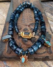 Schaef Designs Indicolite tourmaline, tanzanite, black Ethiopian opal, Australian fire opal & 18kt gold necklace | fine jewelry | New Mexico
