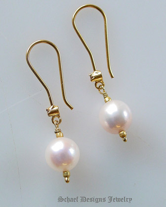 Schaef Designs Champagne diamond pearl & 18kt Solid Gold Dangle Earrings | New Mexico