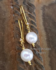 Schaef Designs Diamond Pearl and 18kt solid gold dangle earrings | New Mexico