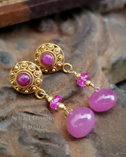 Hot pink sapphire briolettes, rubies and 18kt solid gold dangle earrings | High Roller Collection | online fine jewelry boutique | Schaef Designs Fine Jewelry New Mexico