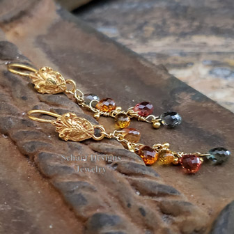 Schaef Designs Padparadscha & Songea Sapphire briolette and 18kt solid gold dangle earrings | New Mexico