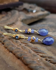 Schaef Designs 18kt Solid gold and Tanzanite teardrop briolette Dangle Earrings | fine jewelry | New Mexico