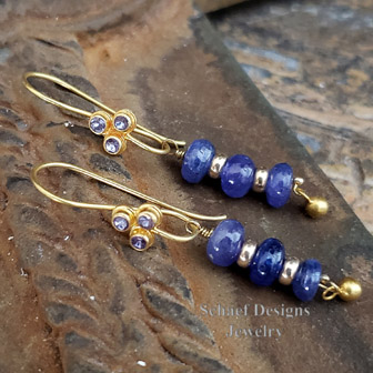 Schaef Designs 14kt and 18kt gold & tanzanite drop french wire earrings.