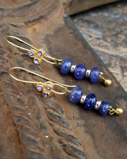 Schaef Designs tanzanite & 18kt Gold french wire earrings | New Mexico
