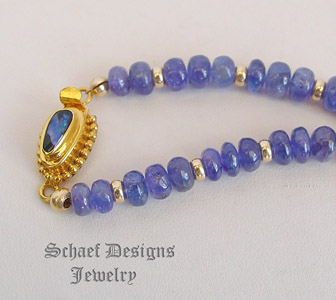 Schaef Designs Tanzanite & Solid 18kt Gold Necklace with Black Opal Clasp