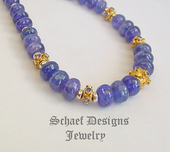 Schaef Designs Tanzanite & Solid 18kt Gold Necklace with Black Opal Clasp | Fine Jewelry | New Mexico | New Mexico