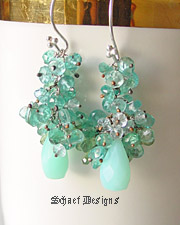 Schaef Designs Peruvian Opal, aquamarine Briolettes & sterling silver cascade earrings | New Mexico