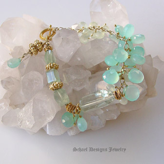 Schaef Designs Aqua Chalcedony Briolette, Prasiolite Green Amethyst, and prehnite nuggets with 24kt Gold Vermeil Ornate Toggle Closure Gemstone Bracelet | New Mexico
