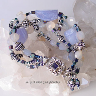 Blue Chalcedony irridescent glass and sterling silver gemstone bracelet with Iolite Clasp | online jewelry boutique | Schaef Designs artisan handcrafted gemstone jewelry | San Diego, CA