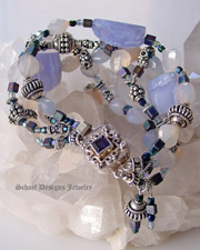 Schaef Designs Blue Chalcedony irridescent glass and sterling silver gemstone bracelet with Iolite Clasp | New Mexico
