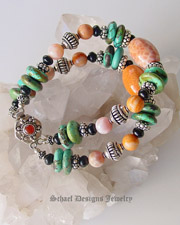 Schaef Designs Southwestern Crab Fire Agate, Turquoise, Jet & Sterling Silver stacking Bracelet | New Mexico