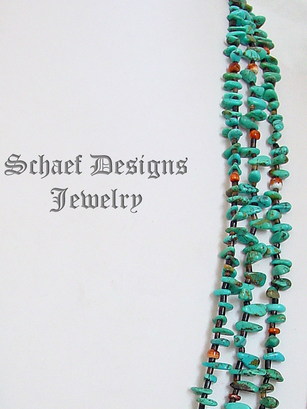 Schaef Designs 3 strand turquoise tab & orange spiny oyster long pueblo style Necklace  | New Mexico |