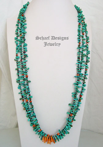 Schaef Designs 3 strand turquoise tab & orange spiny oyster long pueblo style Necklace | New Mexico