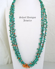 Schaef Designs Turquoise & Orange Spiny Oyster 3 Strand Pueblo Long Necklace | New Mexico