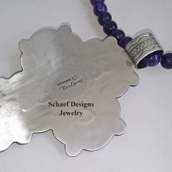 Don Lucas Sugilite & sterling silver cross pendant on amethyst necklace | New Mexico