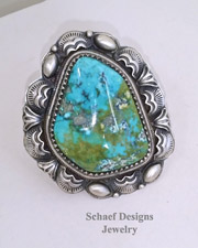 Native American Carico Lake Turquoise & sterling silver artist signed large ring | Schaef Designs | New Mexico