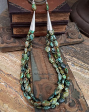Schaef Designs African turquoise 3 strand Old Santa Fe Style Necklace | New Mexico