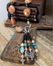 Schaef Designs Crabfire Agate Black Onyx & Turquoise Southwestern Tassel Necklace | New Mexico