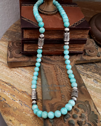 Schaef Designs Amazonite & Sterling Silver Southwestern Basics LONG Tube Bead Necklace | New Mexico