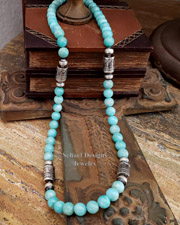 Schaef Designs LONG Amazonite & Sterling Silver Tube Bead Long Necklace | New Mexico