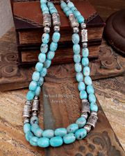 Schaef Designs Amazonite & Sterling Silver Tube Bead Southwestern Necklaces | New Mexico