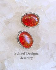 Native American Amber & Sterling Silver POST Earrings | New Mexico