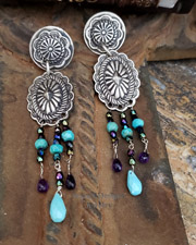Schaef Designs Amethyst & Sleeping Beauty Turquoise Concho POST Earrings | New Mexico