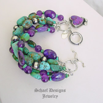 Schaef Designs Amethyst, Turquoise, purple turquoise & sterling silver charm bracelet with purple turquoise heart charm | New Mexico