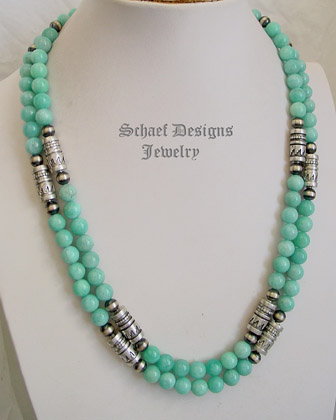 Schaef Designs Ammazonite & sterling silver Southwestern basics necklace set | New Mexico