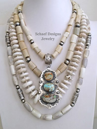Schaef Designs Antler Royston Boulder Turquoise Sterling Silver necklace Pairings | New Mexico