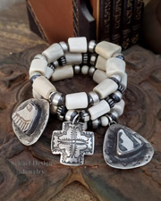 Schaef Designs Deer Antler Shed sterling Silver Navajo Pearls & Anasazi Pottery Shard Stretch Stacking Bracelets | New Mexico