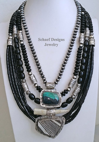Schaef Designs Jewelry off white agate long necklace, pottery shard deer antler tine & chinese writing stone pendant and large sterling silver Navajo Pearl Necklace | New Mexico