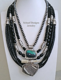 Schaef Designs Antler Pottery Shard Black Onyx & Sterling Silver Necklace Pairings | New Mexico