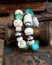 Schaef Designs Antler Turquoise Sterling Silver Stretch Stacking Bracelet | New Mexico