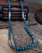 Schaef Designs Long Tube Bead Apatite & Sterling Silver Necklace | New Mexico