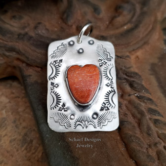 Schaef Designs Apple Coral heart & sterling silver dog Tag pendant | Arizona