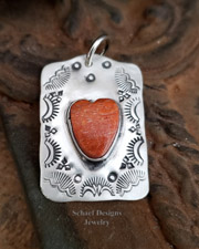 Schaef Designs Apple Coral Heart & Sterling Silver Dog Tag Pendant | New Mexico