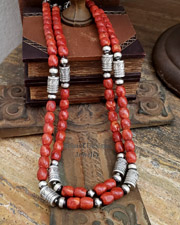Schaef Designs Apple Coral Tube Bead Necklaces | New Mexico