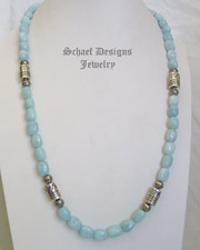 Schaef Designs Long Aquamarine & Sterling Silver Tube Bead Necklace | New Mexico
