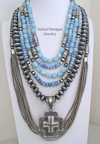 Schaef Designs Owyee Opal, Aquamarine, & Sterling Silver Southwestern Basics Necklaces by Schaef Designs Layered & paired with Vince Platero Sterling Silver Square Cross Pendant | New Mexico