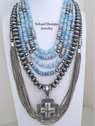 Schaef Designs Owyhee Opal Aquamarine & Sterling Silver Necklace Pairings | New Mexico