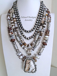 Schaef Designs Arizona Wildhorse Magnesite Sterling Silver necklace Pairings | New Mexico
