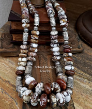 Schaef Designs Arizona Wildhorse Magnesite & Sterling Silver Tube Bead Necklace Set | New Mexico