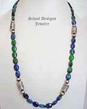 Schaef Designs Long Azurite Malachite & Sterling Silver Tube Bead Necklace | New Mexico